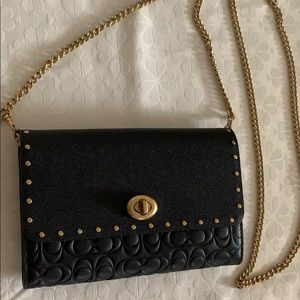 Coach Marlow Studded Leather Crossbody Black NEW